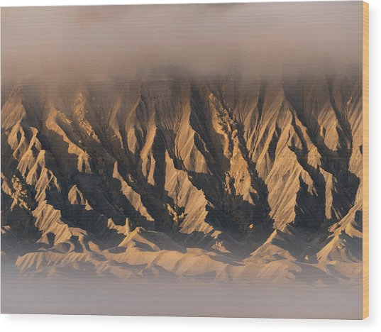 Foggy Butte Wood Print