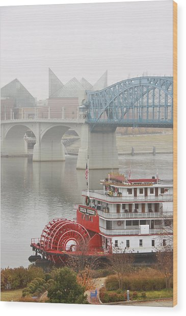Foggy Chattanooga Wood Print