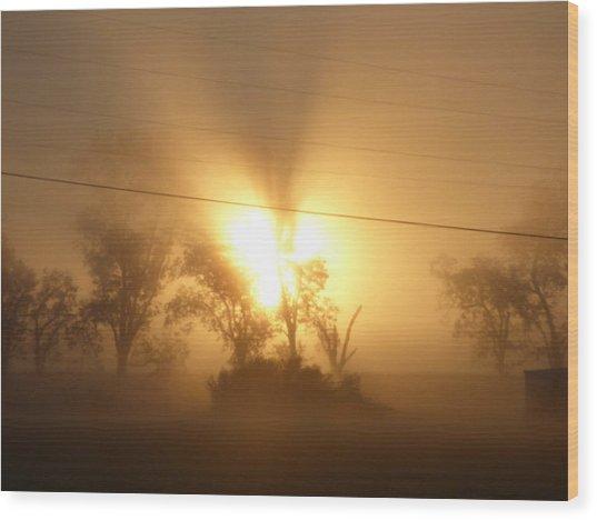 Heart In A Foggy Dawn Wood Print