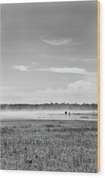 Foggy Day On A Marsh Wood Print