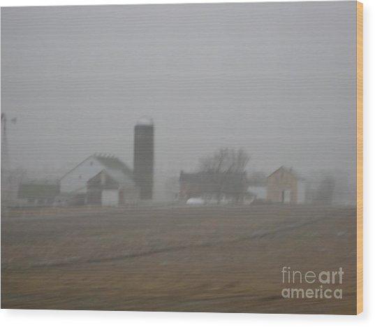 Foggy Evening Wood Print