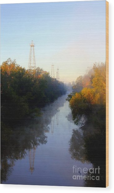 Foggy Fall Morning On The Sabine River Wood Print