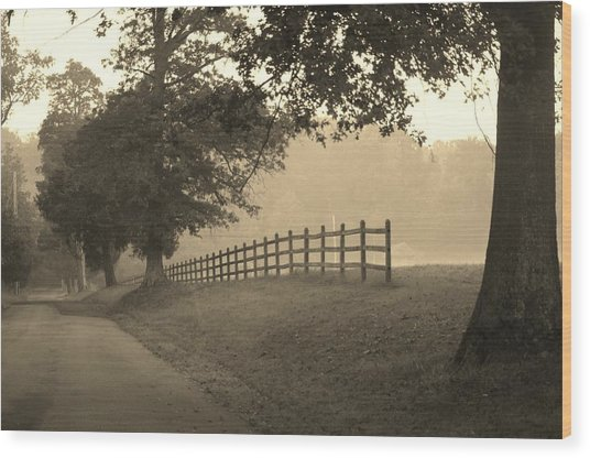 Foggy Fence Line Wood Print