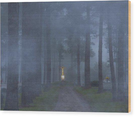 Foggy Hallowed Ground Wood Print