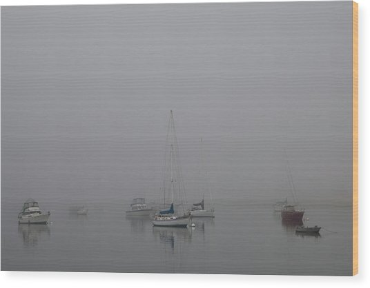 Waiting Out The Fog Wood Print