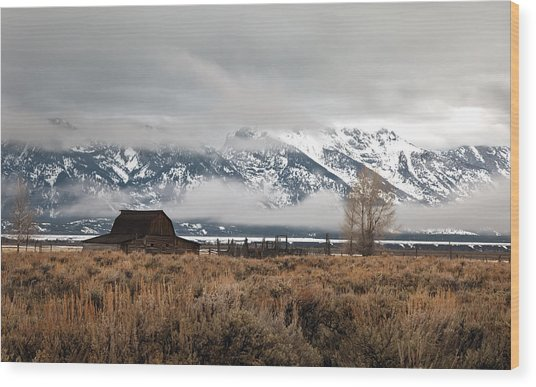 Foggy Morning At Moulton's Barn Wood Print by Robert  McCord