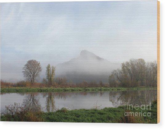 Foggy Morning Bluff Wood Print