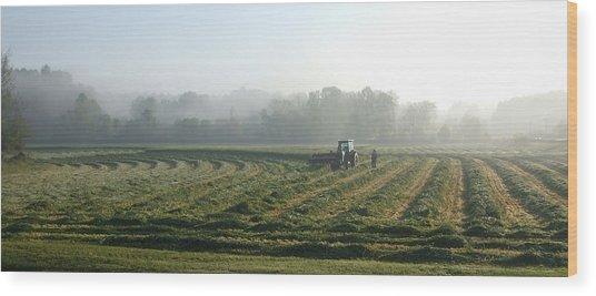 Foggy Morning Field 2 Wood Print by Janet  Telander