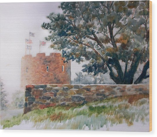 Foggy Morning In Maine Wood Print by Don Getz