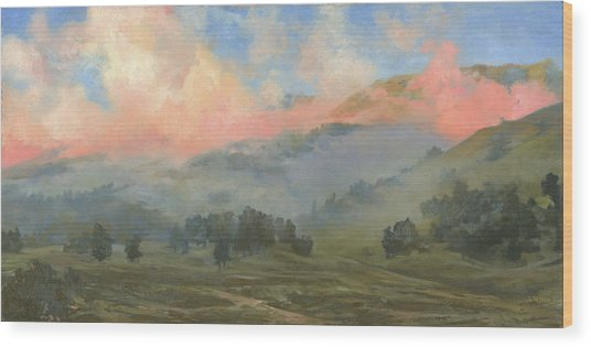 Foggy Morning In Mountains Wood Print