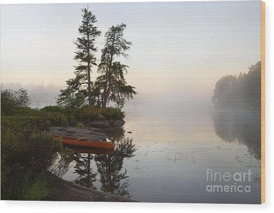 Foggy Morning On The Kawishiwi River Wood Print