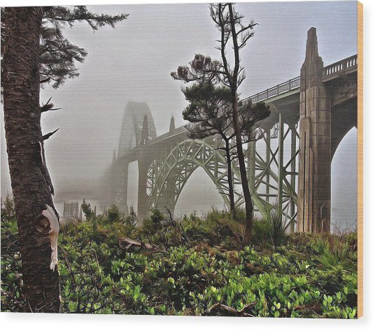 Wood Print featuring the photograph A Foggy Morning On Yaquina Bay by Thom Zehrfeld