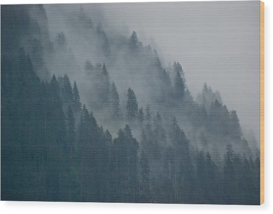 Foggy Mountain Ridge Wood Print