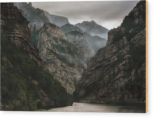 Foggy Mountains Over Neretva Gorge Wood Print