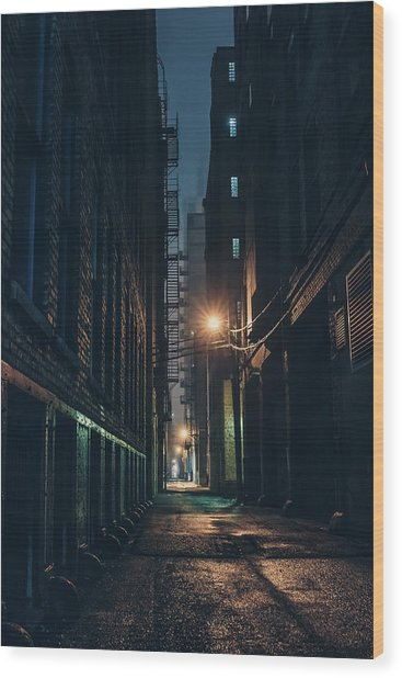 Foggy Night Chicago Wood Print
