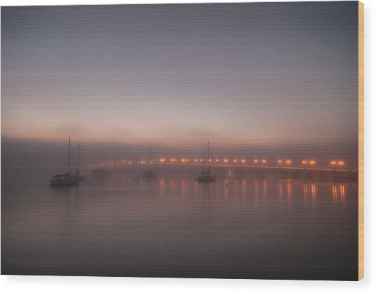 Foggy Nights Of Lights Wood Print
