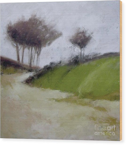 Foggy Path Wood Print