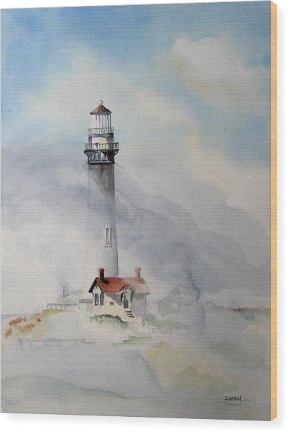 Foggy Point Wood Print