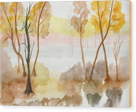 Foggy Suwannee Wood Print