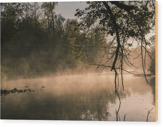 Foggy Water Wood Print
