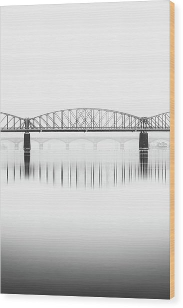 Foggy Winter Mood At Vltava River. Reflection Of Bridges In Water. Black And White Atmosphere, Prague, Czech Republic Wood Print
