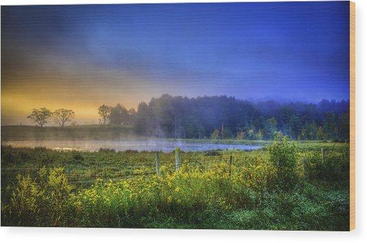 Fogy Sunrise  Wood Print