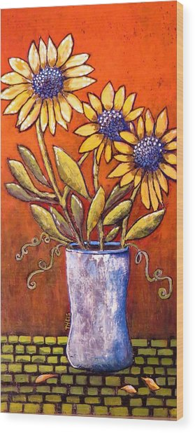 Folk Art Sunflowers Wood Print