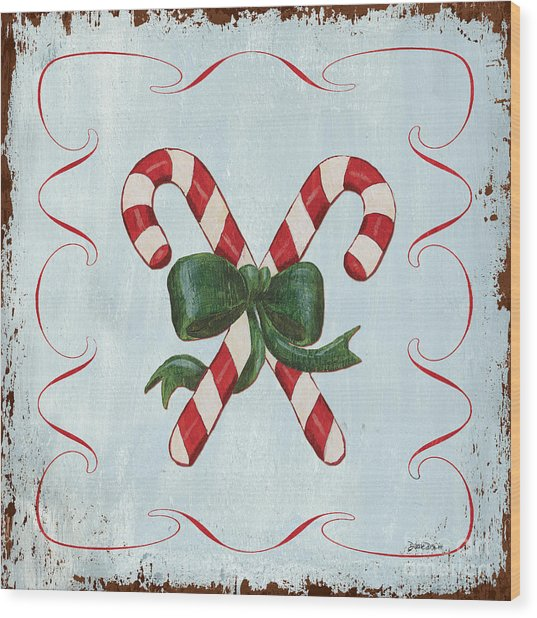 Folk Candy Cane Wood Print