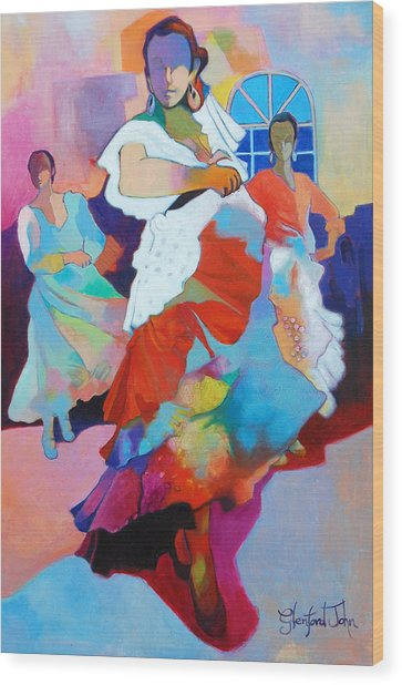 Folk Dancers Wood Print