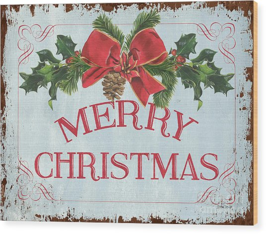 Folk Merry Christmas Wood Print