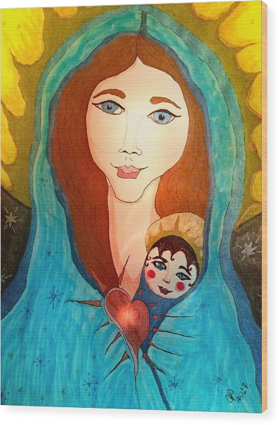 Folk Mother And Child Wood Print