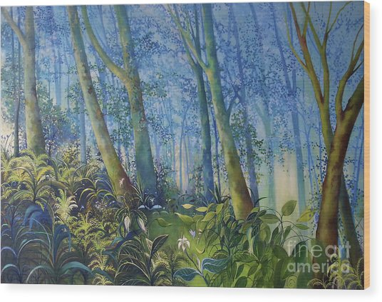 Follow Me Oil Painting Of A Magic Forest Wood Print