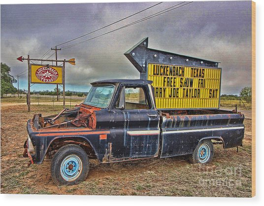 Follow Me To Luckenbach Wood Print