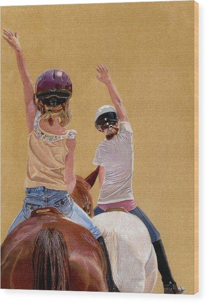 Follow The Leader - Horseback Riding Lesson Painting Wood Print