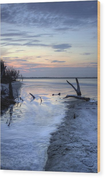 Folly Beach At Dusk II Wood Print