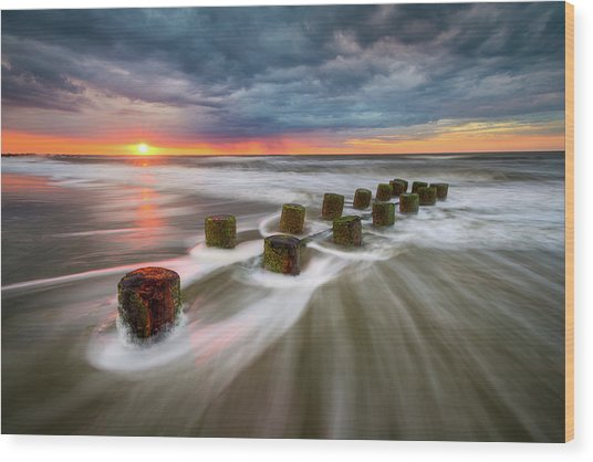 Folly Beach Charleston Sc South Carolina Sunrise Seascape Wood Print