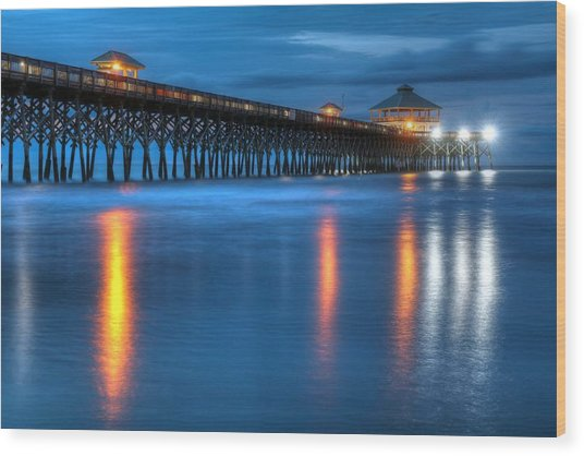 Folly Beach Pier At Blue Hour Charleston South Carolina Wood Print