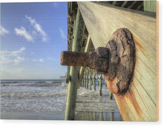 Folly Beach Pier Decay Wood Print