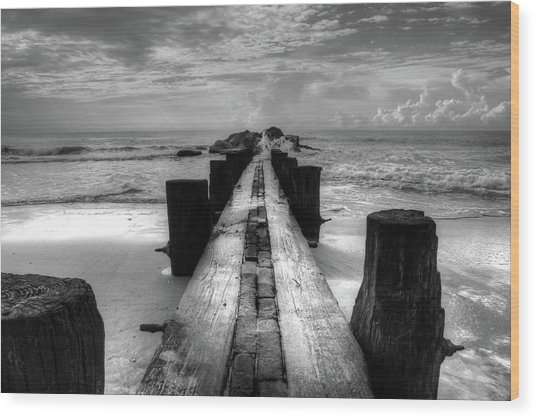 Folly Beach Pilings Charleston South Carolina In Black And White  Wood Print