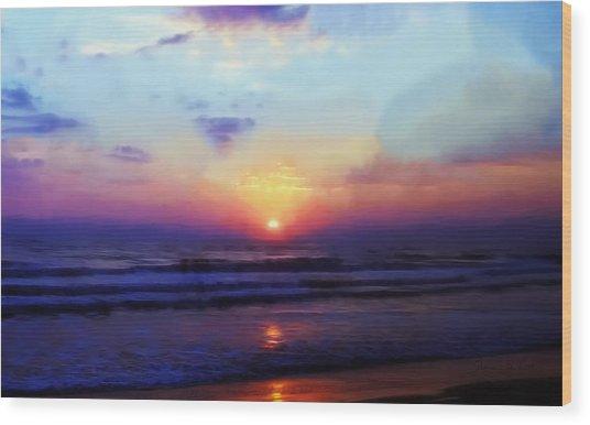 Folly Beach South Carolina Sunrise Wood Print