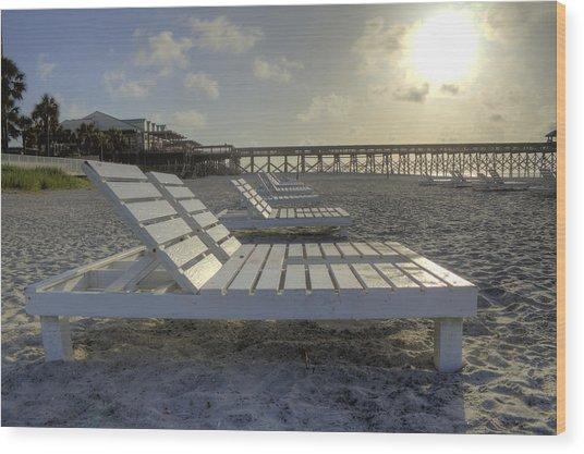 Folly Beach Sunrise Lounger Wood Print