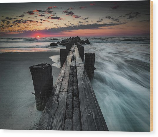 Folly Beach Tale Of Two Sides Wood Print