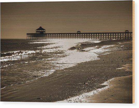 Folly Pier Sunset Wood Print
