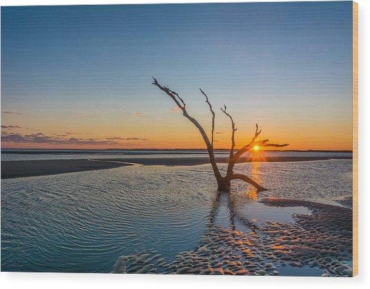 Folly Sunset Wood Print