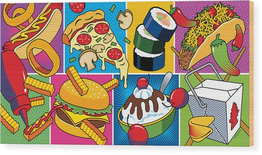 Food Essentials Wood Print