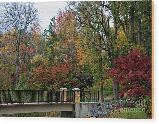 Foot Bridge In The Fall Wood Print