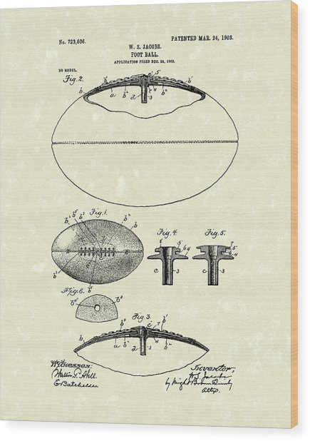 Football 1903 Jacobs Patent Art Wood Print