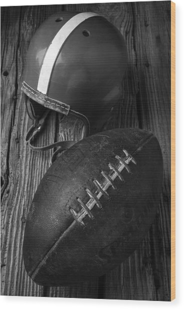 Football And Helmet In Black And White Wood Print