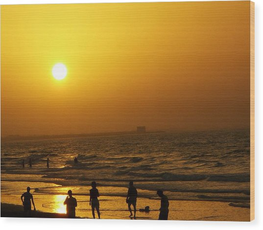 Football And Sunset At The Beach Wood Print by Sunaina Serna Ahluwalia