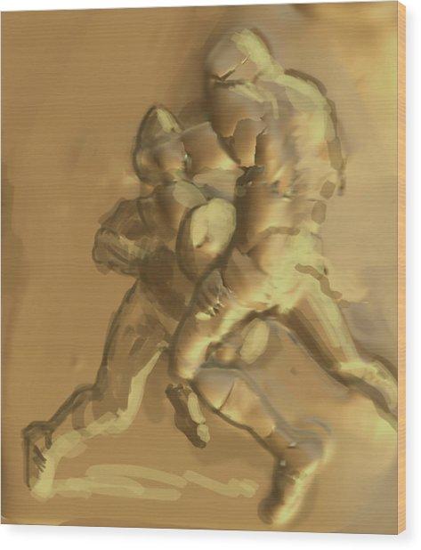 Football Players Wood Print